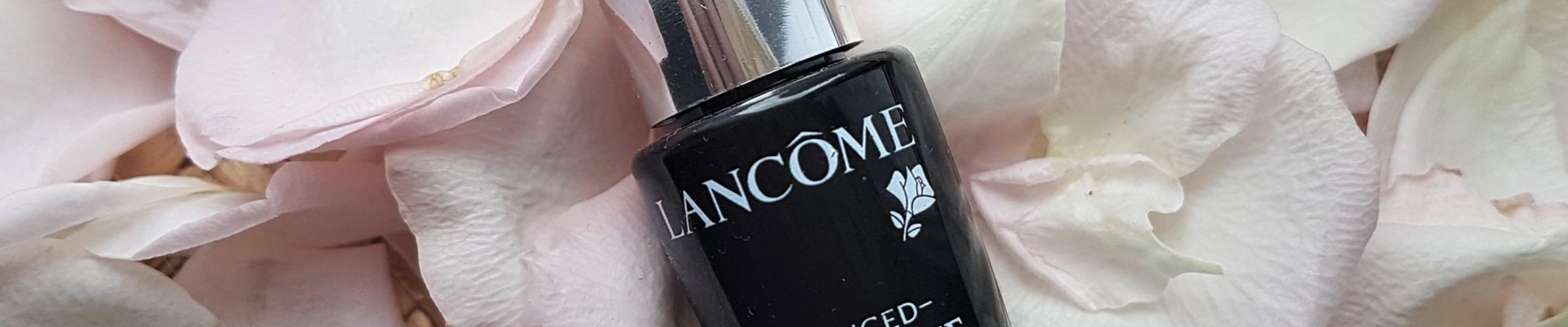 Lancome Advanced Genifique serum sample on rose petals