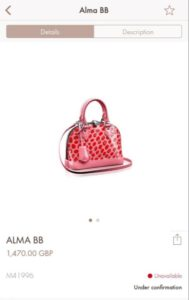 screen from louis vuitton website alma bb jungle dots